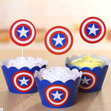 24pcs Captain America Party Supplies Cupcake Wrappers Favors Toppers Kids Boys birthday Baby Shower Decoration