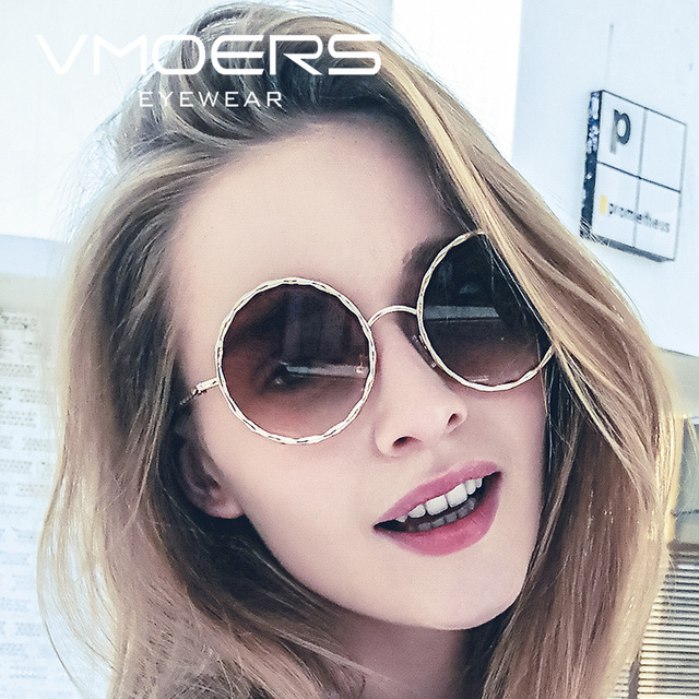 d87397c984 VMOERS Ladies Round Vintage Sunglasses Women Luxury Brand Shades Oculos  Female Vintage 2018 New Sun Glasses For Women Brown Lens