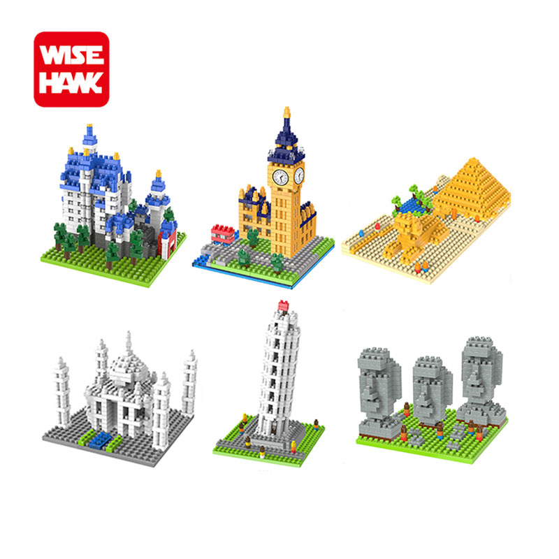 Wisehawk nano blocks funny world famous architecture Big Ben mini plastic building bricks diy micro model educational kid toys. 1500 2200 pcs big size plastic cute cartoon designs of mini nano blocks diamond mini block toys for children diy game