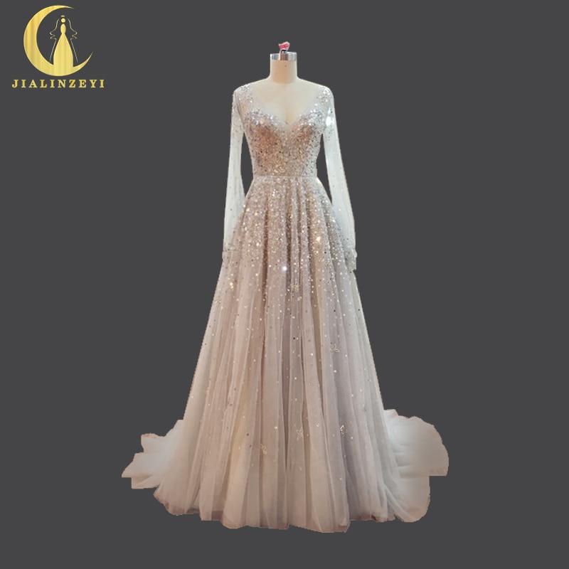 Jialinzeyi Gambar Nyata Mewah Manik manik Payet Lengan Panjang Abu abu Buka  Kembali Fashion Formal Gaun Pesta Gaun Malam di Evening Dresses dari  Pernikahan ... 22d6789f141f