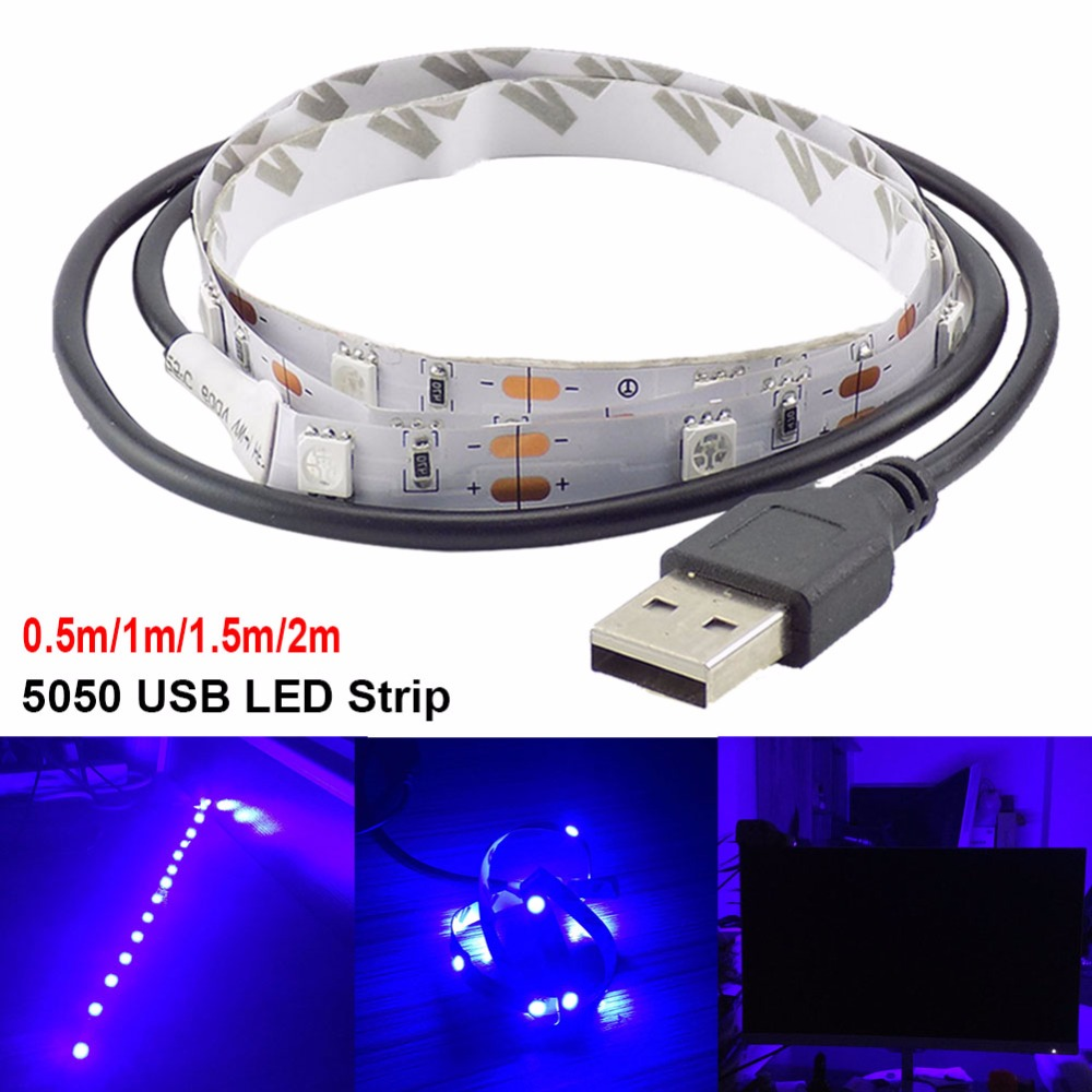 USB LED Strip Waterproof 5V Led Tape Flexible ledstrip 5050 LED Stripe Light TV Backlight for Decoration Blue Lighting 0.5m-2m