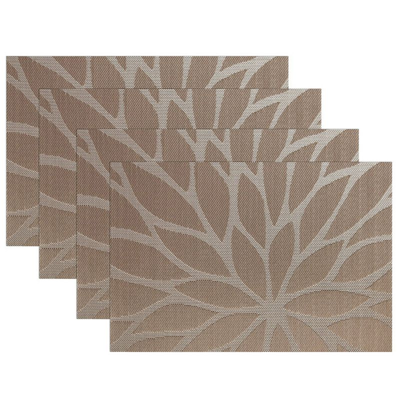 4PCS Leaves Dining Table Mat Disc Pads Bowl Pad Coasters Waterproof Table  Cloth Pad Slip