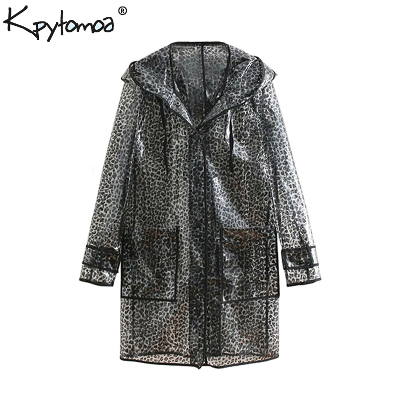 b2e6486169ac Detail Feedback Questions about Vintage Leopard Print Pockets Long Raincoat  2018 Fashion Hooded Waterproof Coat Animal Pattern Outerwear Casual Casaco  Femme ...