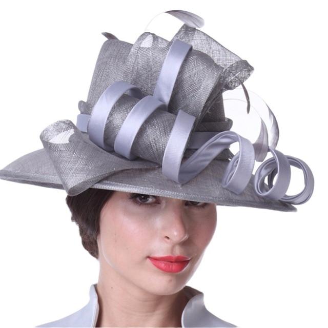 Kueeni Women Hats Stylish Hats For Wedding Mother Of Bride Hats Silver  Color Wide Brim Geometric Pattern Elegant Lady Church Hat 83fabbd4f36