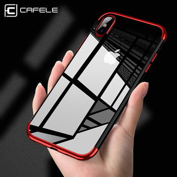 CAFELE Original phone Case for iPhone X High-end Fashion Transparent plated Mobile Phone  Back Shell for iPhone X TPU Soft Case artificial nails