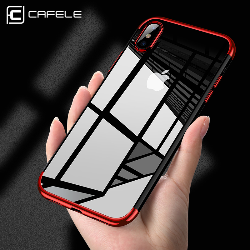low priced d870d 013a2 US $2.99 40% OFF|CAFELE Silicone Phone Case for iPhone X 10 Transparent TPU  Plating Luxury Mobile Phone Back Shell for iPhone X Soft Case Cover-in ...