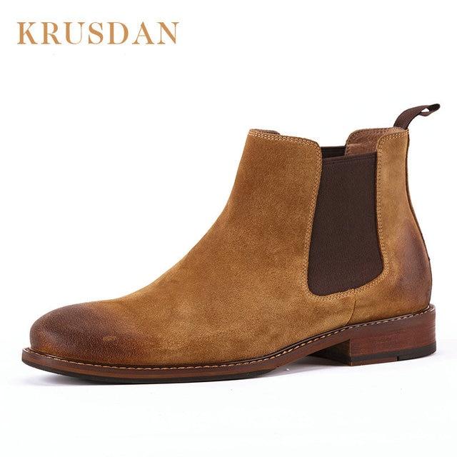 c260ad07f5bd Vintage Genuine Leather Men Chelsea Boots Platform Flat Men s Cowboy  Genuine leather Boot Shoes Slip On Ankle Boots 2018