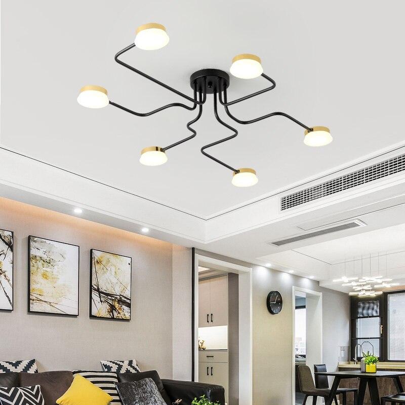 Chandelierrec 2019 Loft lustres Noir/Blanc Fer corps Bar Salon Plafonds Bas led Plafond Lustres Luminaires