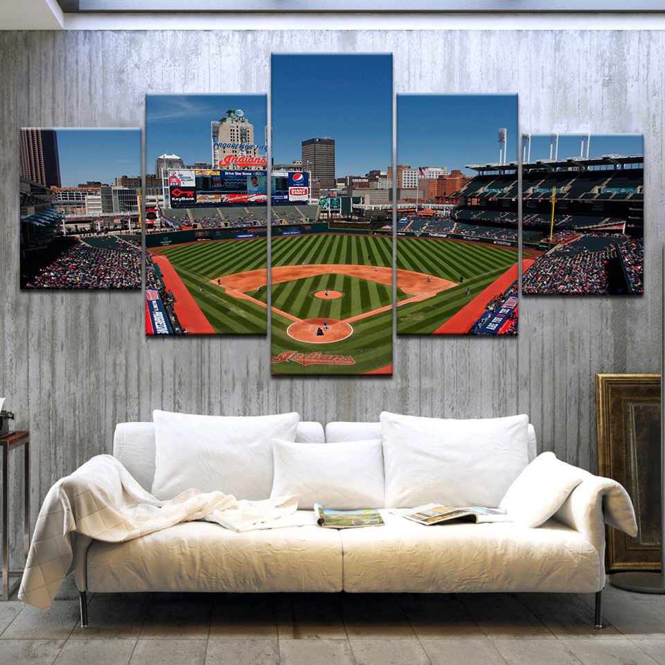 5 Panel HD Printing Canvas Painting Sports Baseball Field Wall Art Group Home Decor Wall Poster Modular Picture Artwork