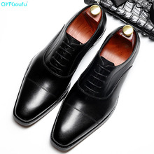 QYFCIOUFU 2019 Handmade Vintage Fashion Luxury Office Wedding Party formal shoes men Genuine Leather Mens oxford Dress Shoes