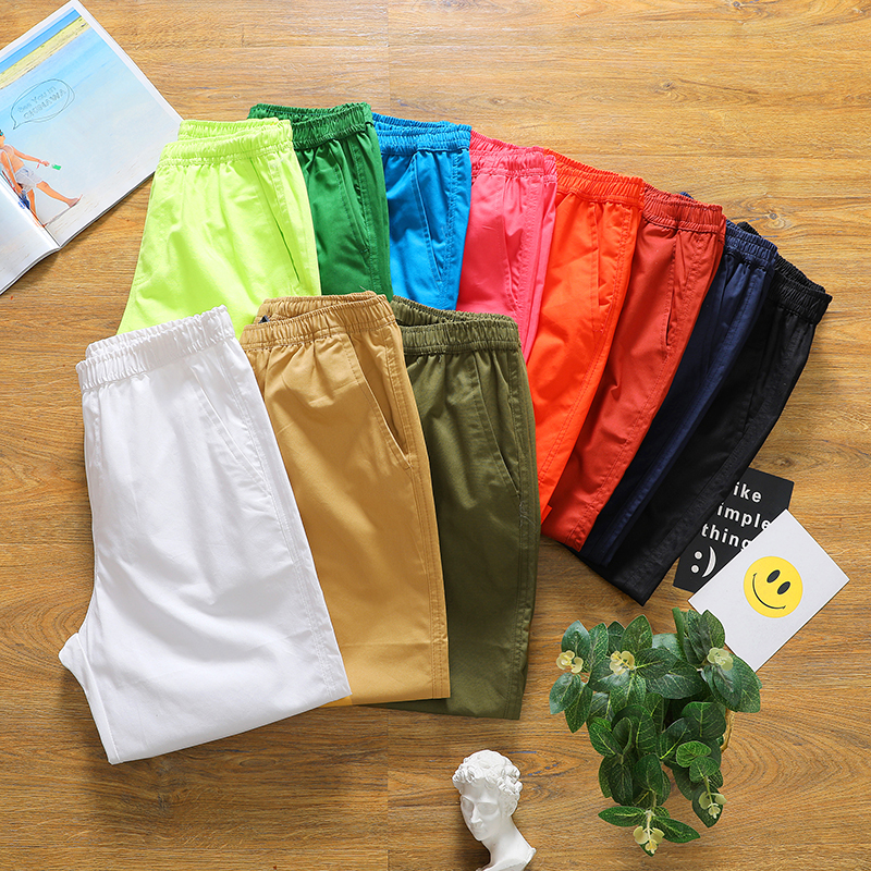 Men's Shorts Summer Light Beach Cotton Fashion New And Autumn Casual K55 100%Solid-Color