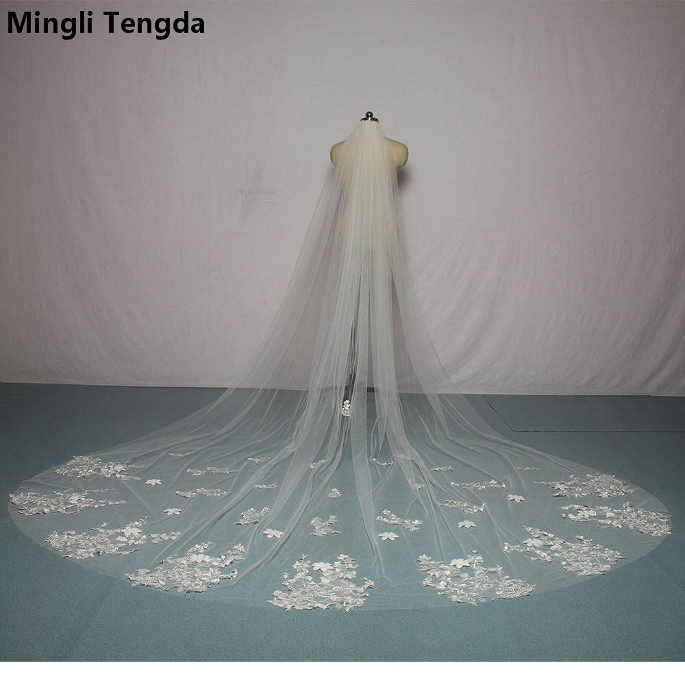 Mingli Tengda 3 M Long Bridal Veil with Comb Lace Wedding Veils Bride Flowers Cathedral Veils