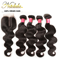 4 Bundles With Closure Peruvian Body Wave With Closure Density 130% Peruvian Virgin Hair Body Wave With Closure Full Bundles