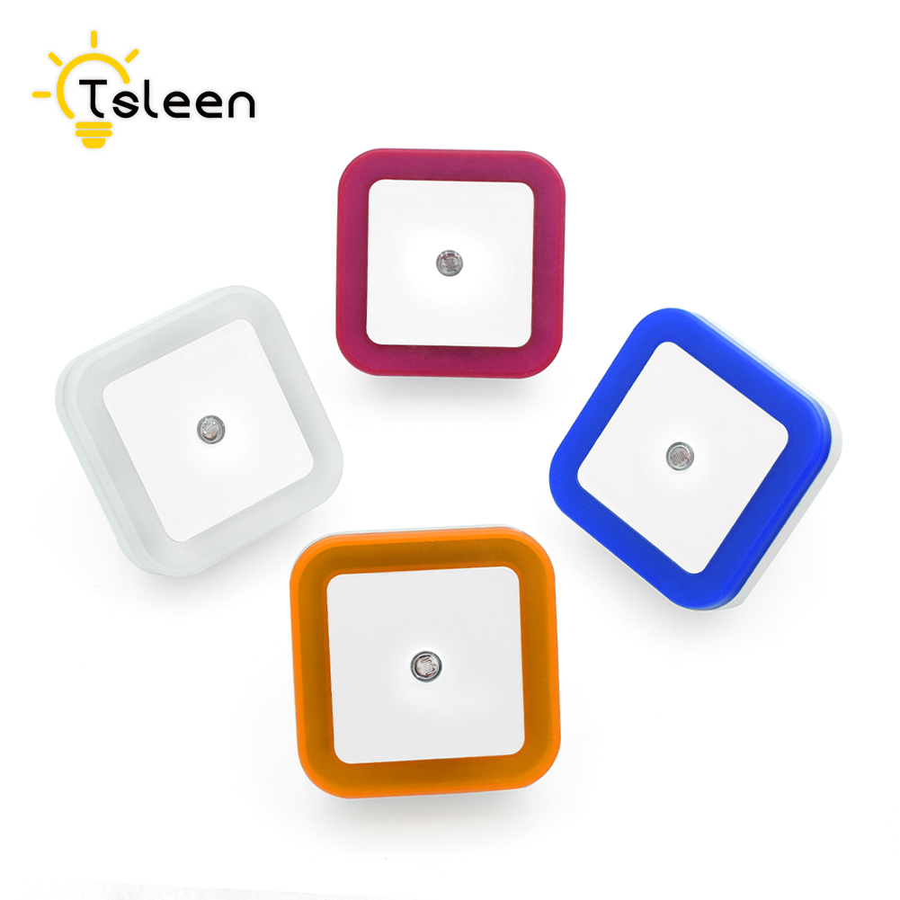 TSLEEN Mini Square LED Night Light EU US Plug Novelty Bed Lamp For Baby Bedroom Gift Romantic Colorful Lights Lux Sensor Control