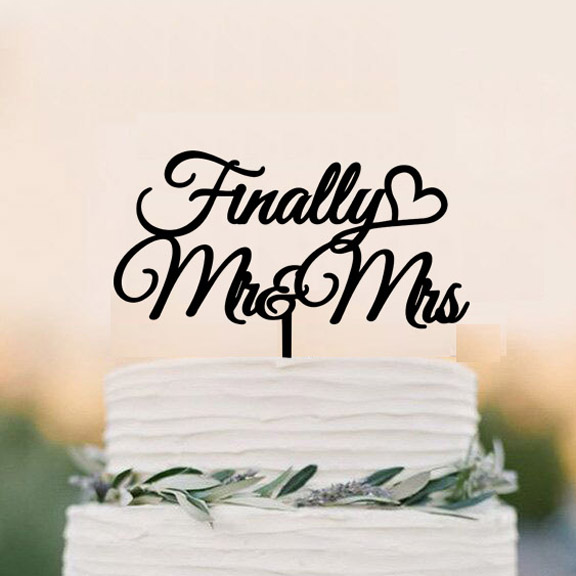 Finally Mr Mrs Wedding Cake Topper, acrylic Cake Topper, classic