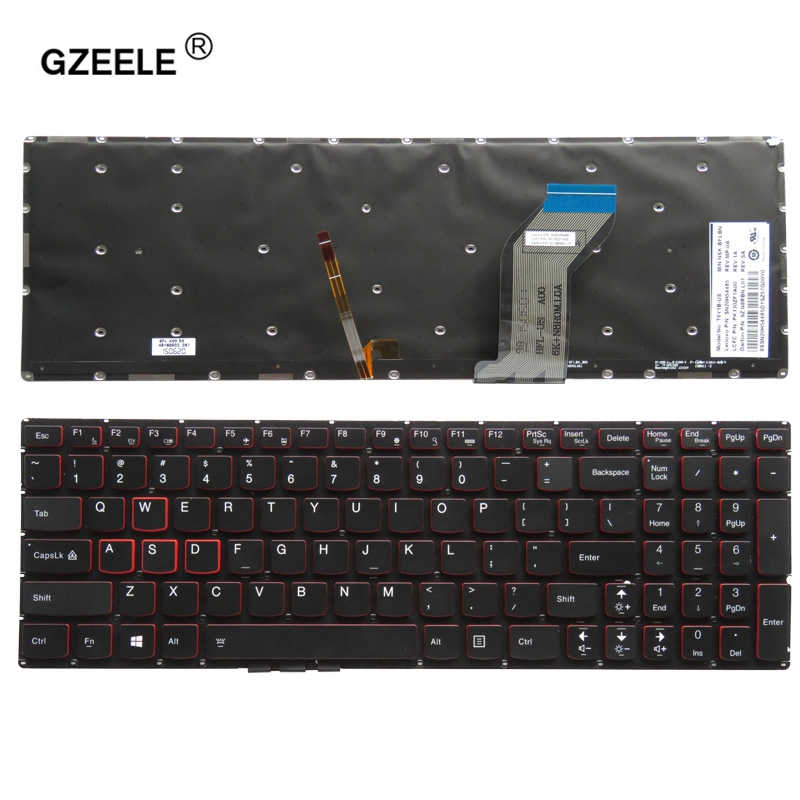 New for <font><b>Lenovo</b></font> Ideapad <font><b>Y700</b></font> <font><b>Y700</b></font>-15 <font><b>Y700</b></font>-15ISK <font><b>Y700</b></font>-15ACZ <font><b>Y700</b></font>-17ISK <font><b>Y700</b></font>-15ISE English US backlit laptop keyboard SN20H54489 image