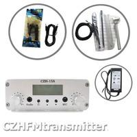 Czh CZE-15A 15 w fm 스테레오 pll 방송 송신기 + gp100 fm 안테나 키트 87-108 mhz