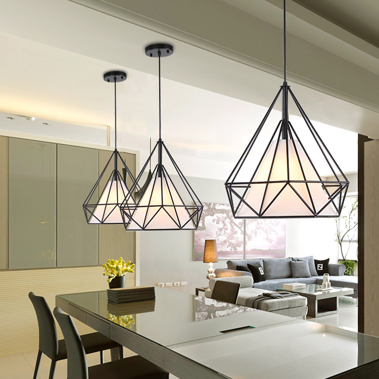 Modern black birdcage pendant lights iron minimalist retro light Scandinavian loft pyramid lamp metal cage free with led bulb colorful birdcage pendant lights iron retro light oft pyramid lamp metal cage with vde best wire and holder