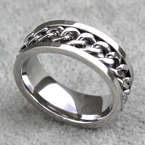 Image 3 - 30pcs High Quality Comfort fit Men's SPIN Chain Stainless steel Spinner Rings Wholesale Jewelry Job Lots-in Rings from Jewelry & Accessories