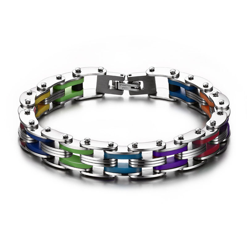 SIZZZ Silicone Stainless Steel Bracelet Men Bangle Rainbow Color 316L Stainless Steel Clasp Bracelet Bracelet For
