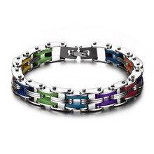SIZZZ силиконовый браслет из нержавеющей стали для мужчин Радужный цвет 316L нержавеющая сталь застежка браслет для мужчин женщин