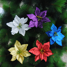 H605 Plastic 15cm Simulation Christmas Glitter Flower Head Wedding Artificial flowers Valentines Day Party Decoration