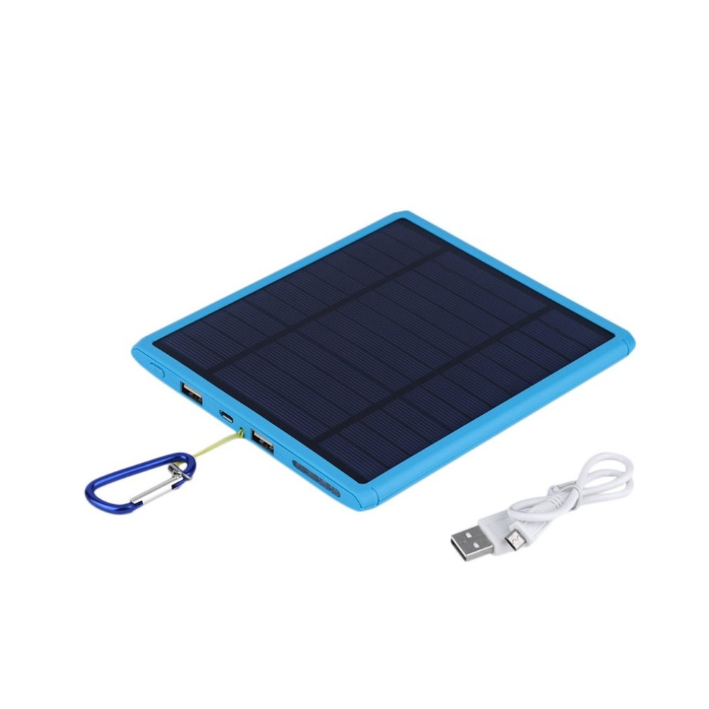 20000mAh Solar Power Bank Dual USB Large Capacity Dustproof Travel Battery Charger Power Supply Poverbank for Mobile Phones
