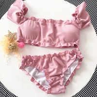 2019 Bandeau High Cut Bikini Set Swimsuit Female Swimwear Women Bathing Suit Smocked Sexy Bikinis Off Shoulder Swim Suit Pink
