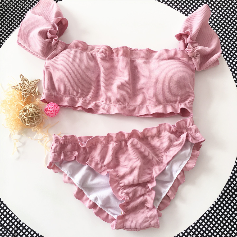 2019 Bandeau conjunto de Bikini de corte alto traje de baño para mujer bañador Sexy Bikini de hombro traje de baño rosa