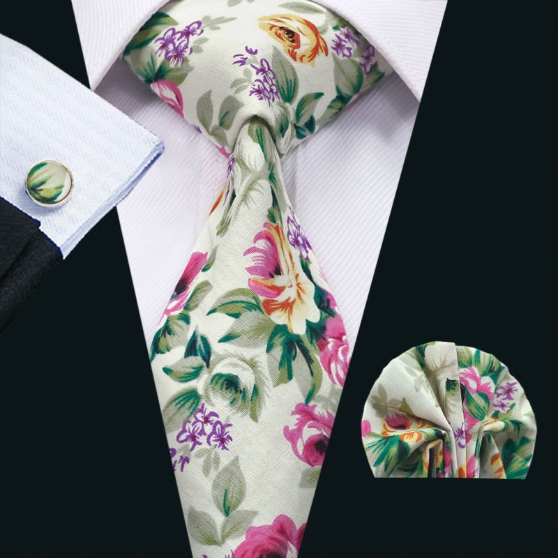 FA-1329 New Arrival Barry.Wang Fashion Colorful Cotton Ties For Men High Quality Necktie Hanky Cufflinks Set For Wedding Party