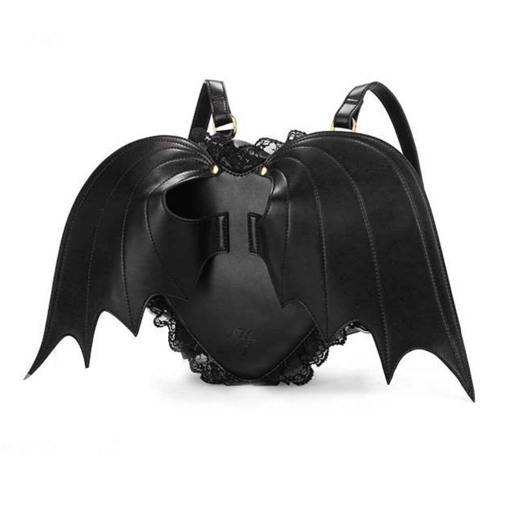 ФОТО Vintage Fashion Gothic Rock Devil Wings Women's Black Leather Japanese Harajuku Cosplay Bag