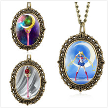 Vintage Quartz Pocket Watch for Kids Sailor Moon Series Watches Girls Bronze Tact Oval Pendant Child