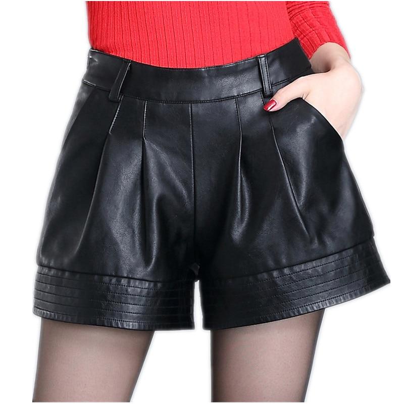 High waist Women leather   shorts   2018 Winter Fashion PU leathe Mosaic Ladies Skinny Black Leatherwear Wide leg super   shorts   Girls
