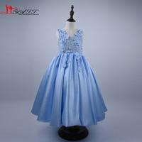 Real Photo 2016 Yüksek Qulaity Mavi Dantel Çiçek Kız Elbise Aplikler Balo Prenses Pageant İlk Communion elbise Girls