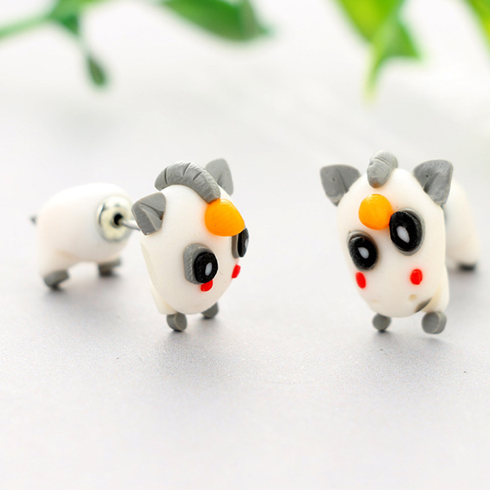1 Pair Hot Sale Handmade Polymer Soft Clay Cute Unicorn Stud Earrings For Women Fashion Animal Soft Earring Jewelry Gifts Aesthetic Appearance