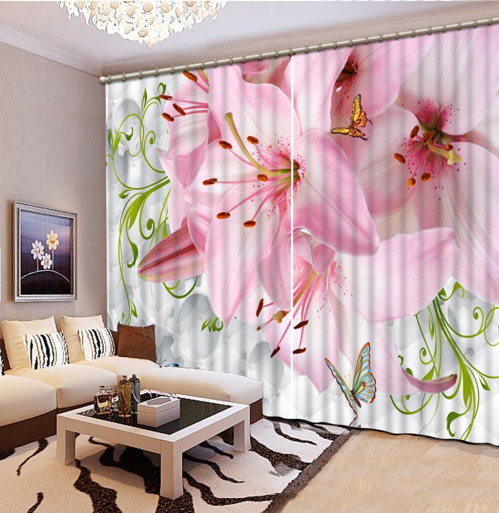 Pink Living Room Curtains Us 121 38 49 Off Modern Style Pink Flower Lily Curtains For Living Room Curtain Window Room Home Decoration In Curtains From Home Garden On