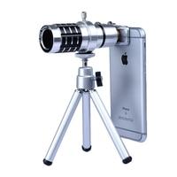 2017 Universele Clips 12x Zoom Lenzen Optische Telescoop Camera Lentes Tele Lens Met Statief Voor Samsung iPhone 5 s se 6 6 s 7