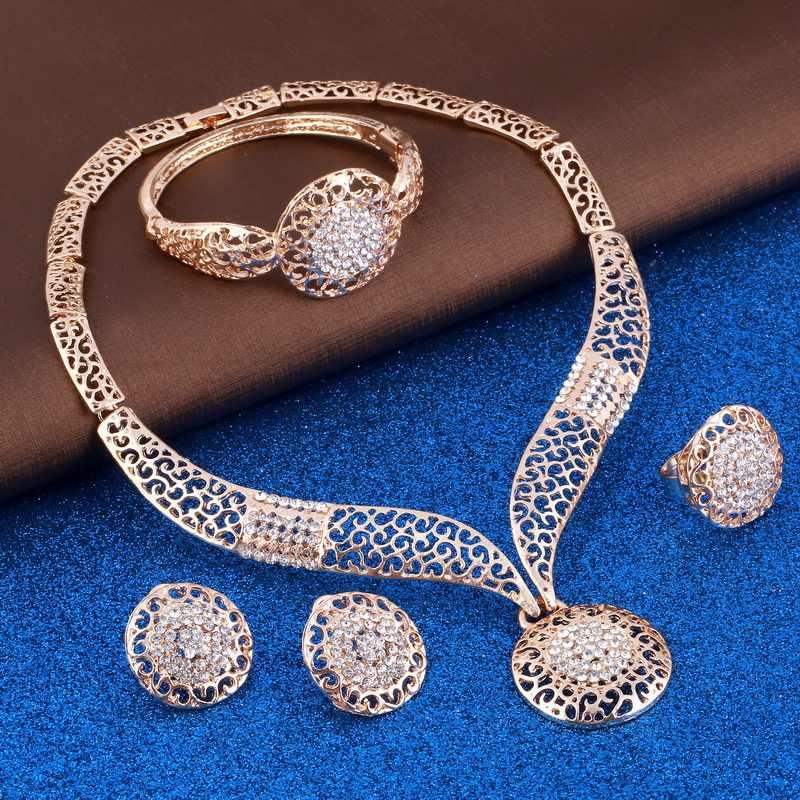 Exquisite Dubai gold Schmuck Set erstaunliche preis Luxus Nigerian Frau Hochzeit Mode Afrikanische Perlen Schmuck Set Kostüm Design