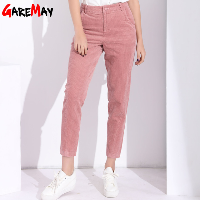 c2bf08f4 Garemay Harem Pants Women's Trousers With High Waist Female Loose Casual Corduroy  Pants Womens Large Size