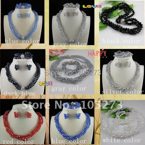 Charming!Nice MultiColor Crystal Bead Necklace Bracelet Earring Jewelry Set AA 6X8MM Magnet Clasp Wholesale Free Shipping A2658A