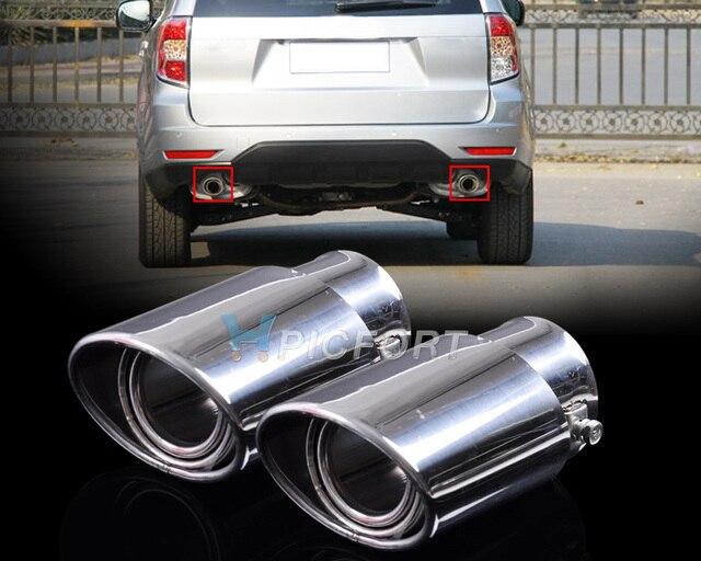 """2 Шт. 2.5 """"63 мм Из Нержавеющей Стали Хром Выхлопных Хвост Глушитель Задний Кончик Трубы для Subaru Forester 2008 2009 2010 2011 2012"""