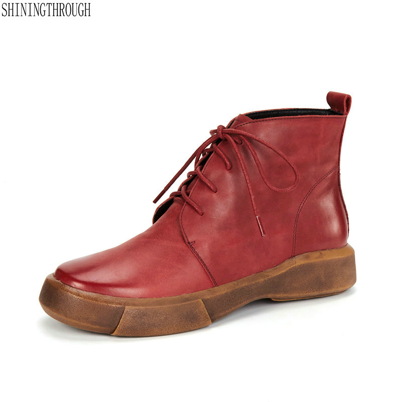 New 100% cow leather shoes woman flat platform women ankle boots lace up casual shoes woman green red brown large size 42New 100% cow leather shoes woman flat platform women ankle boots lace up casual shoes woman green red brown large size 42