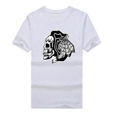 2017 Chicago Blackhawks skull fans Game 100% cotton T-Shirts  Hockeyes Tees Shirt O-Neck Cotton Short Sleeve fast shipping