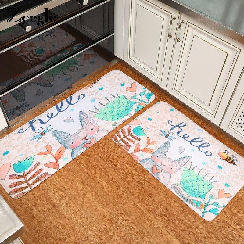 Zeegle Cartoon Rabbit Printed Kitchen Rugs Anti Slip
