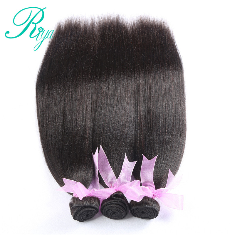 Image 3 - Riya Hair Brazilian Light Yaki Human Hair 3 Bundles 100% Human Hair Weave Natural Color 100% Remy Hair Extensions Free part-in 3/4 Bundles from Hair Extensions & Wigs