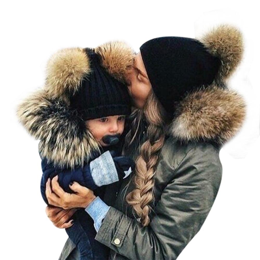 2017 Adult Baby Beanies Double Faux Fur PomPom Hat Winter Women Boy Girls Warm Hats Newborn Kids Cute Striped Knit Earmuffs Cap
