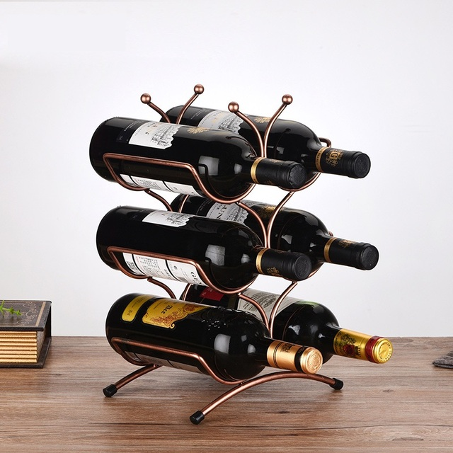 Creative Metal Three Tiers Wine Bottle Holder Decorative Wrought