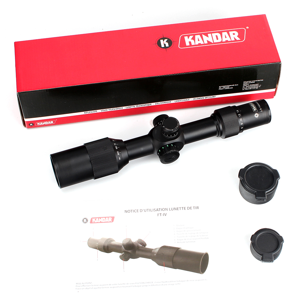 KANDAR 3.5-14X44 AOQ First Focal Plane Hunting Riflescopes Red Green Illuminated P4 Glass Etched Reticle Turrets Lock Scope (5)