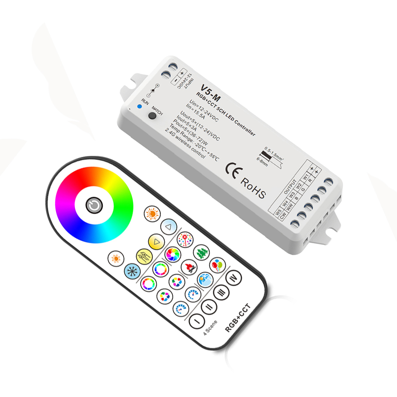 купить New Led RGB +CCT Strip Controller 12V 2.4G RF Remote Wireless 4A*5CH 20A Output DC12V-24V RGB CCT Led Strip Controller V5-M+R23 недорого