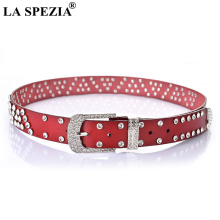 LA SPEZIA Pin Buckle Belt For Women Rhinestone Brand Leather Belts Ladies Fashion Red Pu Female Diamond Waist Jeans